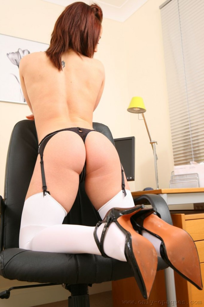Only Opaques - Kayleigh P Bending Over Chair In Stockings