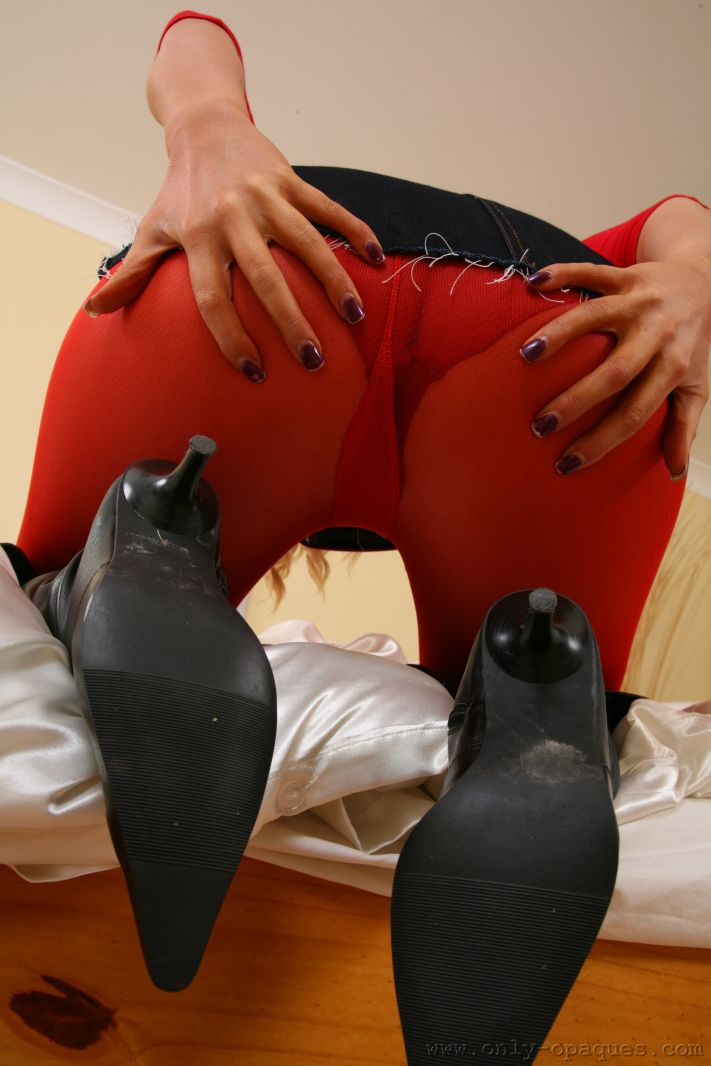 Leah F In Her Red Pantyhose